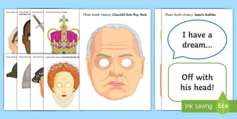 Historical Photo Booth Display Pack - parent open evenings, history, role play masks, interactive, props, key indivuals