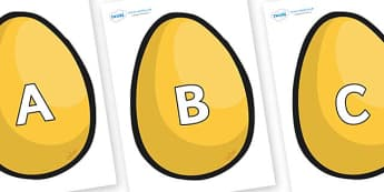 A-Z Alphabet on Golden Egg - A-Z, A4, display, Alphabet frieze, Display letters, Letter posters, A-Z letters, Alphabet flashcards