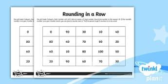 Rounding in a Row - Rounding to the Nearest 10 Activity Sheet - Rounding in a Row, Rounding to the Nearest 10 Activity Sheet number, place value, Rounding, round, n