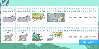 Ronald the Rhino Display Alphabet Strips - Ronald the Rhino, rhyming, pattern, story, jungle, Africa, rhino, alphabet strips
