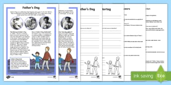 Father's Day Differentiated Reading Comprehension Activity English/German -  non-fiction, questions, fact file, information, EAL, German-translation