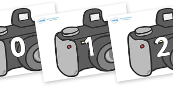 Numbers 0-100 on Cameras - 0-100, foundation stage numeracy, Number recognition, Number flashcards, counting, number frieze, Display numbers, number posters