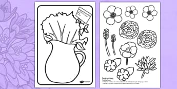 Mother's Day Flower Bouquet Colouring Activity Romanian Translation - romanian, mothers day