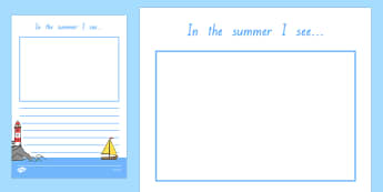 In the Summer I See Writing Frame - nz, new zealand, in the summer, summer, seasons, writing frame, writing template, writing guide, writing aid, line guide, writing guide