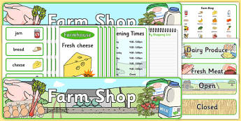 Farm Shop Role Play Pack - Farm Shop Role Play, farm shop resources, Role Play Pack - role play, Display signs, display, labels, packfarm, milk, cheese, eggs, till, animals, meat, cheese, living things, butcher, role play, display, poster