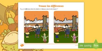Feuille d'activités : Trouve les différences - L'automne - oral, parler, Français, images, cycle 1, cycle 2