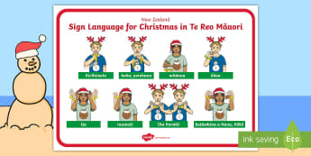 New Zealand Sign Language Te Reo Christmas Display Poster