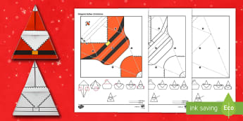 Simple Origami Father Christmas Paper Craft - origami, 3d, model, paper craft, father christmas, santa, christmas