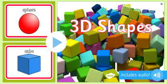 3D Shape Audio Flashcards - 3d shapes, audio, sound, flash cards