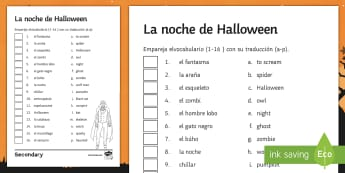 Halloween Matching Activity Sheet Spanish - worksheet, 31st, October, Festivities, Celebrations, Vocabulary