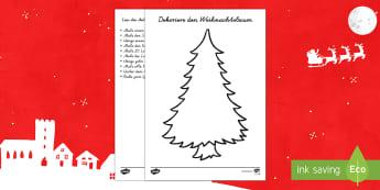 Weihnachtsbaum dekorieren Arbeitsblatt: Lesen und Malen-German - DE EYFS Christmas, Weihnachten, tree, Weihnachtsbaum, malen, schmücken, colour in, decorate, Kugeln