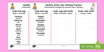 Months of the Year Writing Practice Activity Sheets English/Polish - Months of the Year Writing Practice Worksheets - practice, write, months of the yearenglish, writtin