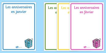 Posters d'affichage modifiables sur les anniversaires - french, editable, birthday, display, posters, Poster, anniversaire, mois, janvier, février, mars, avril, mai, juin, juillet, août, septembre, octobre, novembre, décembre