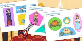 Cinderella Cutting Skills Worksheet - traditional tale, cutting