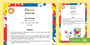 Colour Sensory Bag - Colour, mixing, baby sensory, mess free, colours, paint, squeeze, mix, mixing, red, yellow, blue
