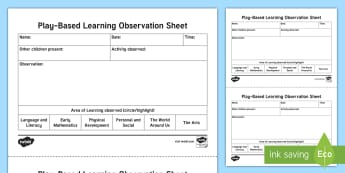 Play-Based Learning Observation Template - NI  Literacy observation, Nursery, Early Years, record, observation templates, proformas