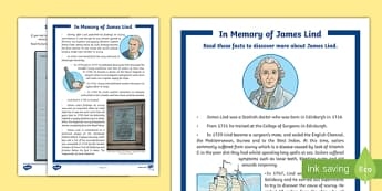 James Lind (1716-1794) Activity Sheet-Scottish