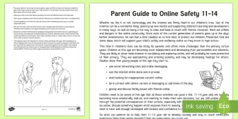 E-safety Advice for Parents of Children Aged 11-14 Parent and Carer Information Sheet - secondary, child, wellbeing, questions, teenager, talking, esafety, internet, cyberbullying