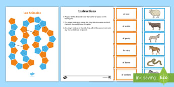 Animals Board Game Spanish - Spanish, Vocabulary, KS2, animals, pets, board, game, revision