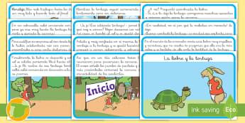 Cuento: La liebre y la tortuga - cuento, infantil, moraleja, liebre, tortuga, fábula, fabula, animales, ,Spanish