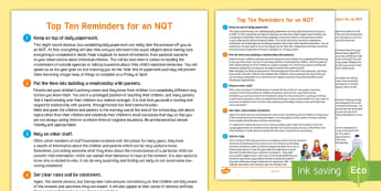 Top Ten Reminders for an NQT Guide - newly qualified teachers, information, reminders, new term, lesson organisation