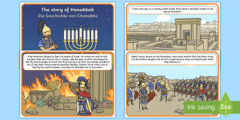 The Story of Hanukkah Cards English/German - Chanukka, Judaism, EAL, German, English-German,,German-translation