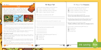 All about Fall Differentiated Reading Comprehension Activity - Fall, Seasons, Fall Reading comprehension, Nonfiction, Autumn