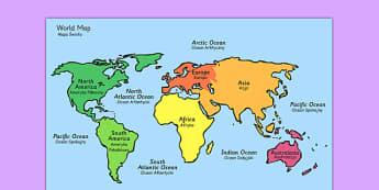 World Map With Names Polish Translation - polish, geography, map reading, display map, maps