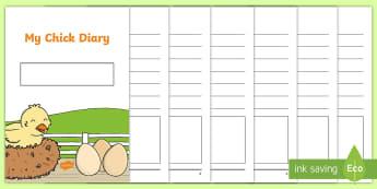 My Chick Diary Writing Template - diary, writing, template, diary writing, diary writing template, writing template, chick, chick diar