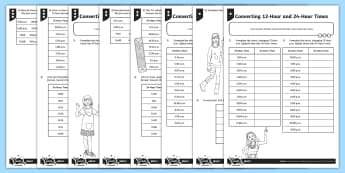 Converting 12-Hour and 24-Hour Times Differentiated Activity Sheets - Time, telling the time, 12-hour clock, 12-hour clock, digital time, tell and write the time from an