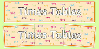 Times Tables Display Banner - times table, times tables, display banner, display, banner