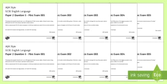 AQA GCSE English Language P2 Q5 Mini Exam Pack - AQA GCSE Specific Question Resources, structure, language, Paper 2 Question 5, opinion, argument, no