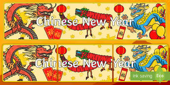 Chinese New Year Display Banner - Chinese new year, Display banner, banner, display sign, display,  China, lantern, dragon, chopsticks, noodles, year of the rabbit, ox, snake, fortune cookie, pig, money wallet, didplays
