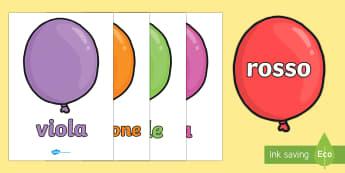 Nomi dei Colori sui Palloncini Poster - i, colori, nomi, palloncini, poster, esibizione, italiano, italian, materiale, scolastico