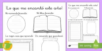 Ficha de actividad: ¡Lo que me encantó de este año - memorias, momentos, escritura, reflexión, ,Spanish