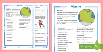 Victoria Fact File - Canada's 150th Birthday, Canada, Junior, Grade 4, Grade 5, Grade 6, History, Geography, Social Stud