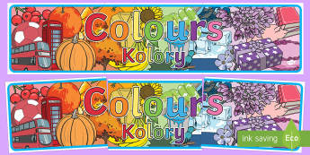 Colour Display Banner English/Polish - Colour Display Banner - colour, colouring, display, banner, poster, sign, colour mixing, black, whit