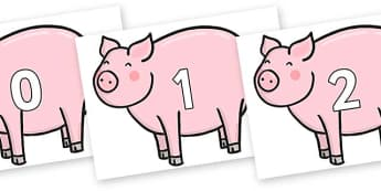 Numbers 0-100 on Chinese New Year Pig - 0-100, foundation stage numeracy, Number recognition, Number flashcards, counting, number frieze, Display numbers, number posters