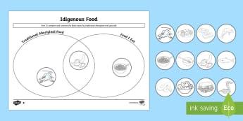 Traditional Aboriginal Foods Venn Diagram Differentiated Activity Sheets  - Aboriginal food, aboriginal lifestyle, Indigenous history, aboriginal history, Australian history,Au