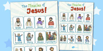 The Miracles of Jesus Bible Stories Vocabulary Poster - miracles