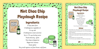 Mint Choc Chip Playdough Recipe - mint choc chip, playdough, recipe, activity