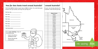 Santa's journey around Australia Activity Sheet