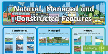 Natural, Managed and Constructed Features Display Pack -  natural, managed and constructed features of places, change, e cared, ACHASSK031, HASS, Primary ind