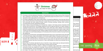 Christmas Fact Sheet for Adults - EYFS, Early Years, KS1, Key Stage 1, Christmas, Christianity, Jesus, Mary, Joseph, Bethlehem, Christmas story, Santa, Father Christmas, reindeer, Christmas tree, presents