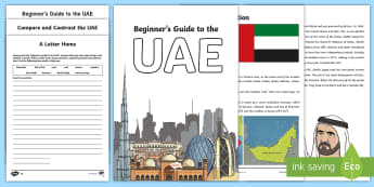 A Beginner's Guide to the UAE Lesson Pack - Life in the UAE, tourism, location, currency, ruler, federation, landmarks, history, geography, econ