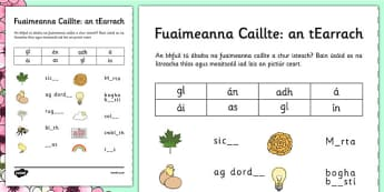 Spring Phase 3 Missing Sounds Worksheet Gaeilge - irish, gaeilge, spring, phase 3, phases
