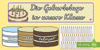 Geburtstagsbanner und Kuchen für die Klassenraumgestaltung - Geburtstags Banner und Kuchen für die Klassenraumgestaltung, Geburtstag, Geburtstage, Geburtstagsba