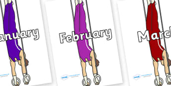 Months of the Year on Hoops - Months of the Year, Months poster, Months display, display, poster, frieze, Months, month, January, February, March, April, May, June, July, August, September