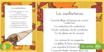 Canción de la Castañera Hoja informativa - otoño, fiestas, tradiciones, castañas, castañera,Spanish