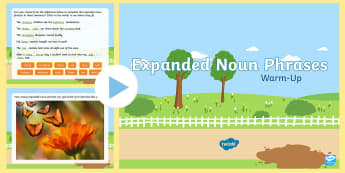 Year 2 Expanded Noun Phrases Warm-Up PowerPoint - Spag, morning starter, sentences, adjectives, description
